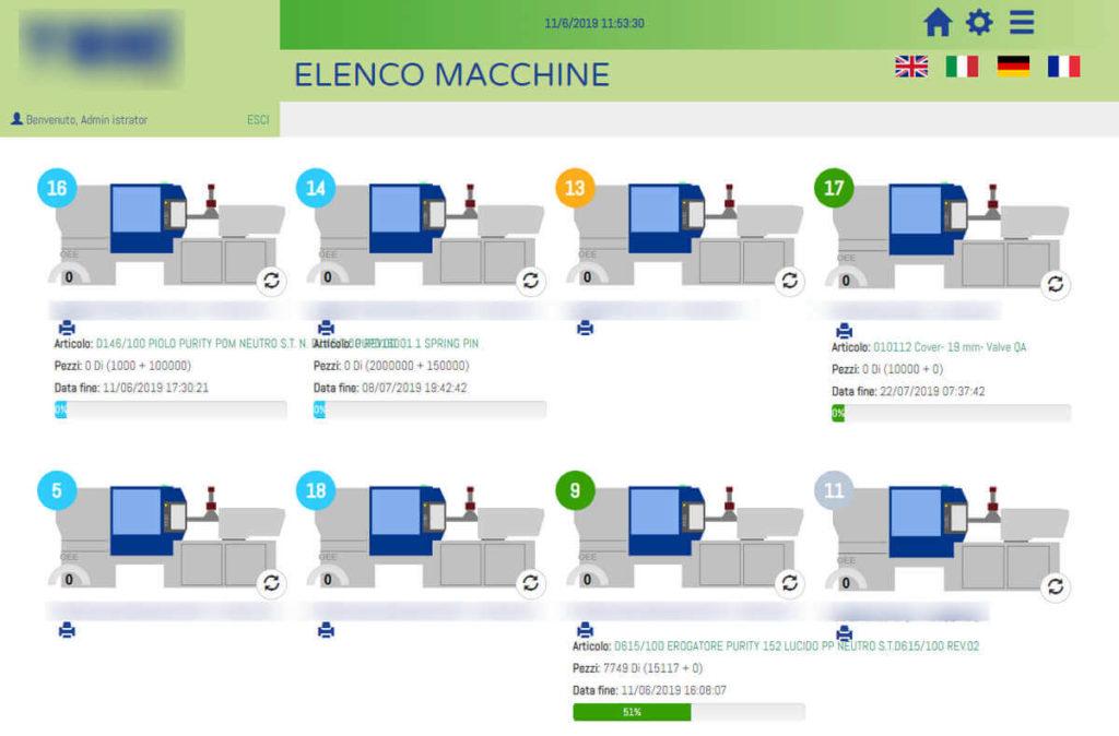 Web app per la programmazione e il monitoraggio della produzioni di parti in plastica stampate, industria 4.0 - screenshot 0
