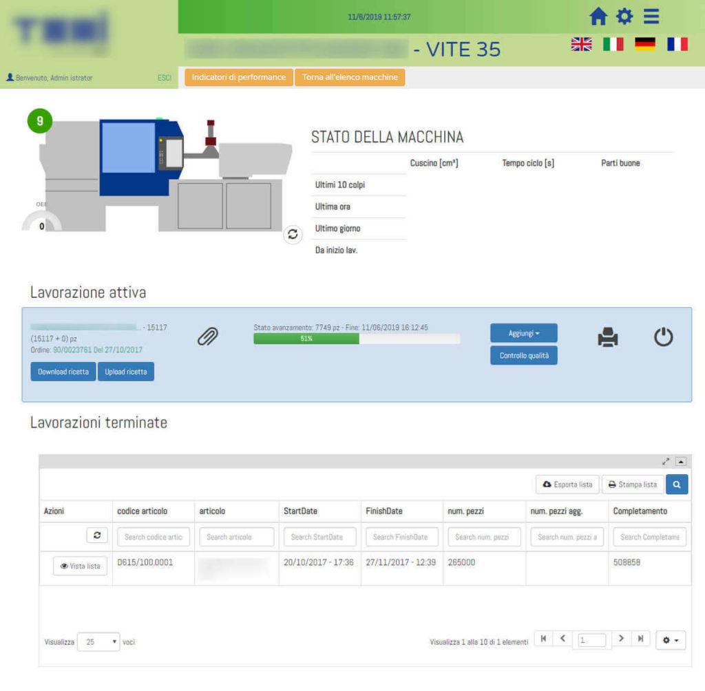 Web app per la programmazione e il monitoraggio della produzioni di parti in plastica stampate, industria 4.0 - screenshot 1