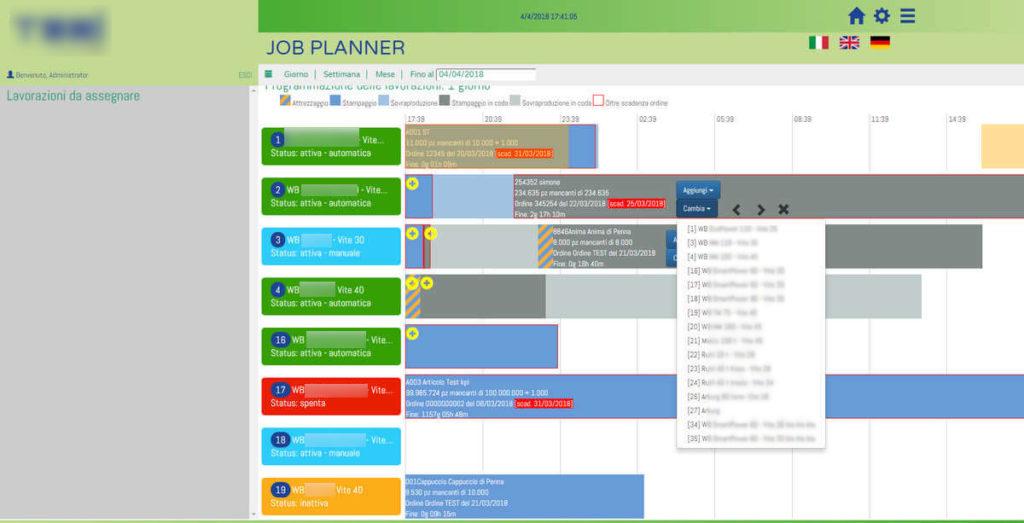 Web app per la programmazione e il monitoraggio della produzioni di parti in plastica stampate, industria 4.0 - screenshot 2